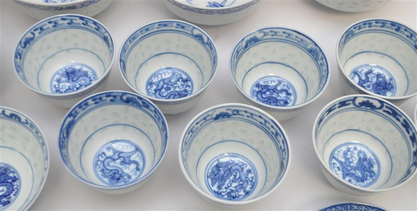35 PC VINTAGE CHINESE EXPORT RICE GRAIN PORCELAIN - 6