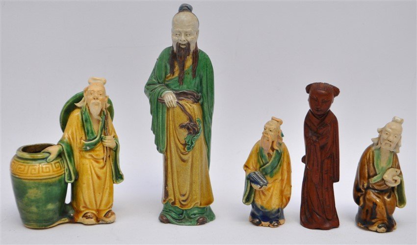 5 PC VINTAGE CHINESE MUDMEN & CARVING
