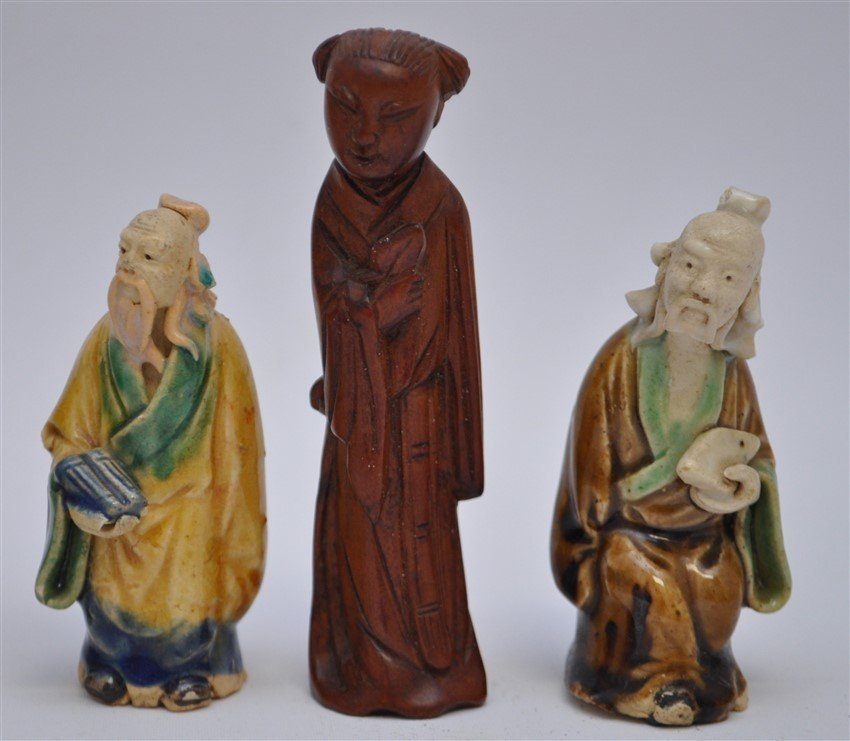 5 PC VINTAGE CHINESE MUDMEN & CARVING - 4