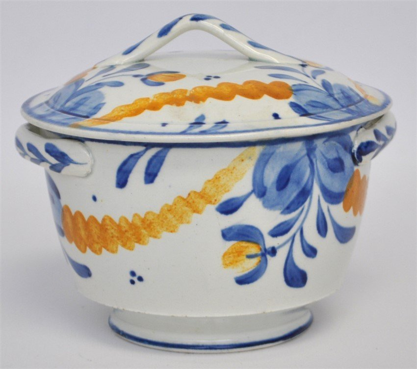 ANTIQUE FAIENCE LIDDED BOWL