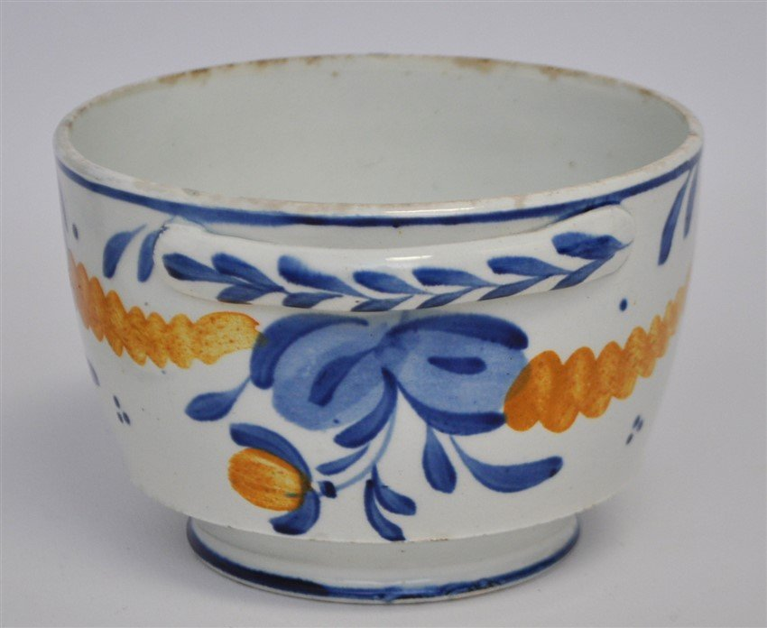ANTIQUE FAIENCE LIDDED BOWL - 4