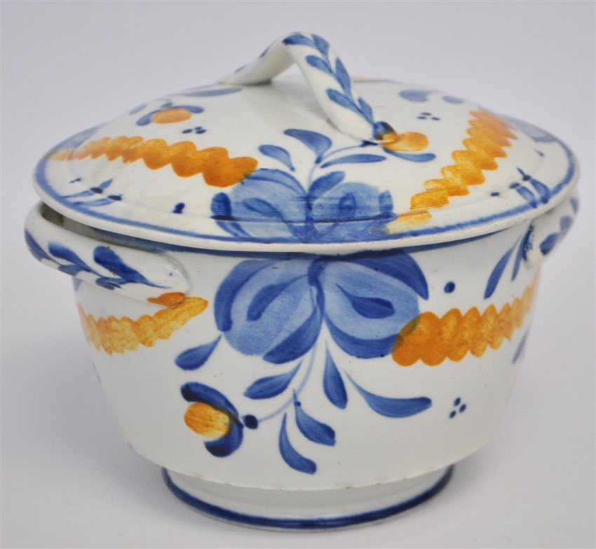 ANTIQUE FAIENCE LIDDED BOWL - 5
