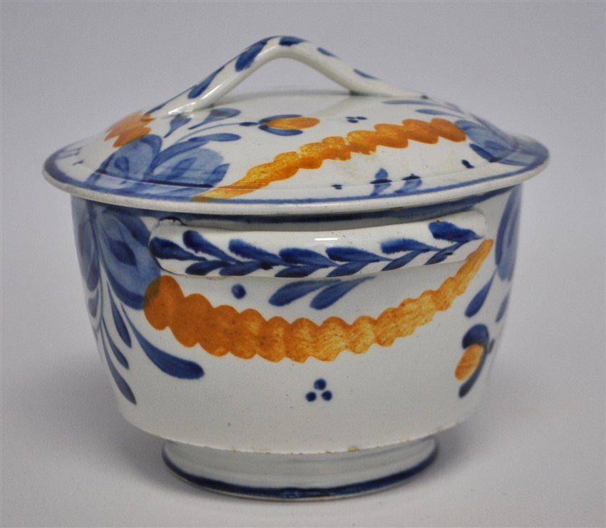 ANTIQUE FAIENCE LIDDED BOWL - 6