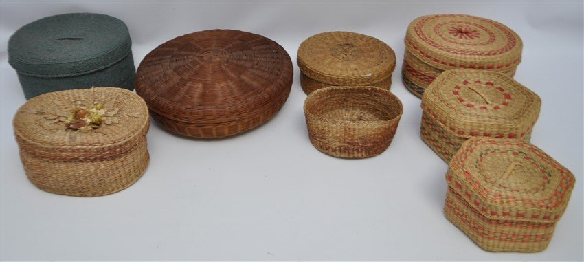 8 ANTIQUE & VINTAGE BASKETS - MICMAC - NEW ENGLAND