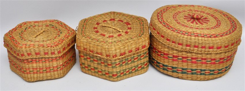 8 ANTIQUE & VINTAGE BASKETS - MICMAC - NEW ENGLAND - 3