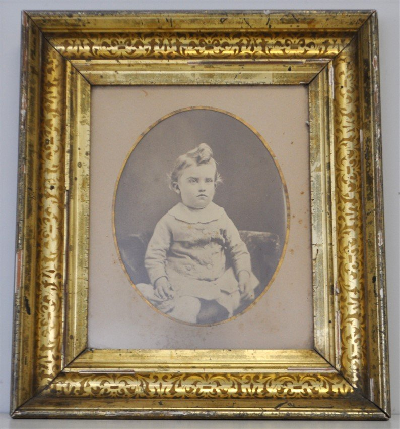 ANTIQUE STERN FACED CHILDS PHOTOGRAPH SHADOWBOX