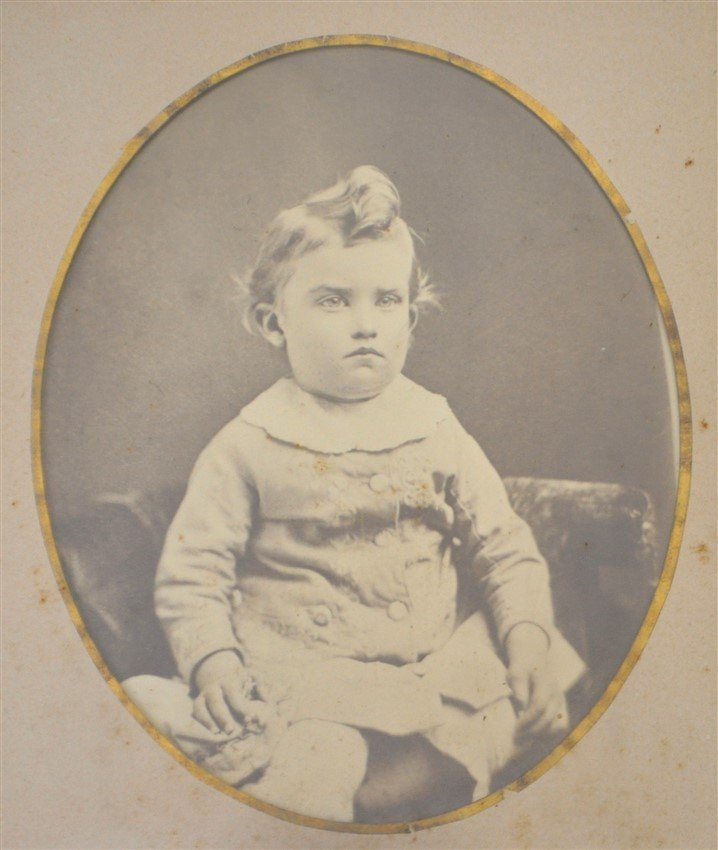 ANTIQUE STERN FACED CHILDS PHOTOGRAPH SHADOWBOX - 2