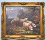 20TH C. FLOCK OF SHEEP OIL PAINTING SIGNED A. BAILEY