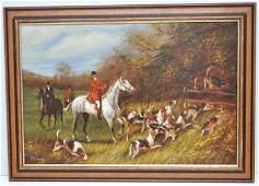 ENGLISH HUNT OIL PAINTING D. LONG