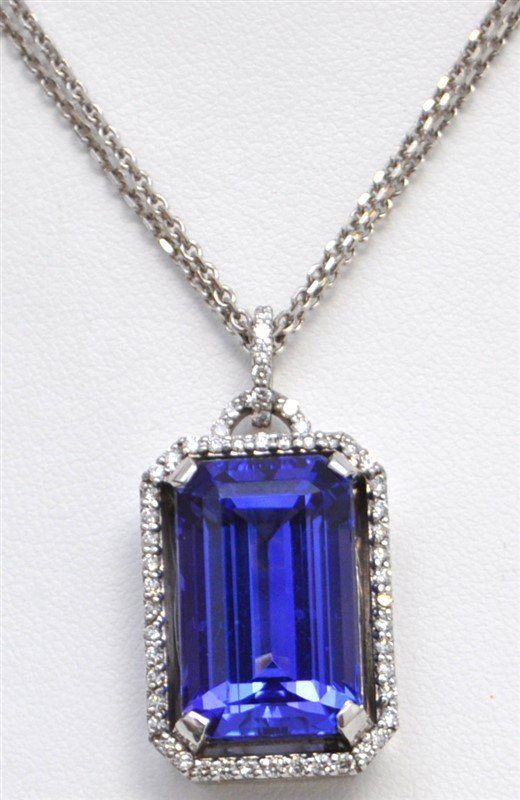 TANZANITE (16.85CT) & DIAMOND 14k NECKLACE