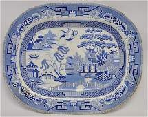 19th c. LARGE STAFFORDSHIRE WILLOW PLATTER