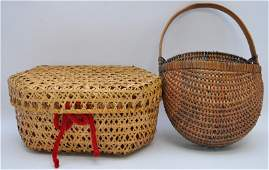 2 VINTAGE NEW ENGLAND HAND WOVEN BASKETS
