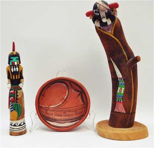 3 Pc Alfred Honeyestewa Hopi Kachina Pottery