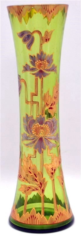 BOHEMIAN TALL BLOWN GILDED VASE ART DECO