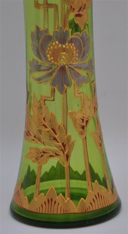 BOHEMIAN TALL BLOWN GILDED VASE ART DECO - 2