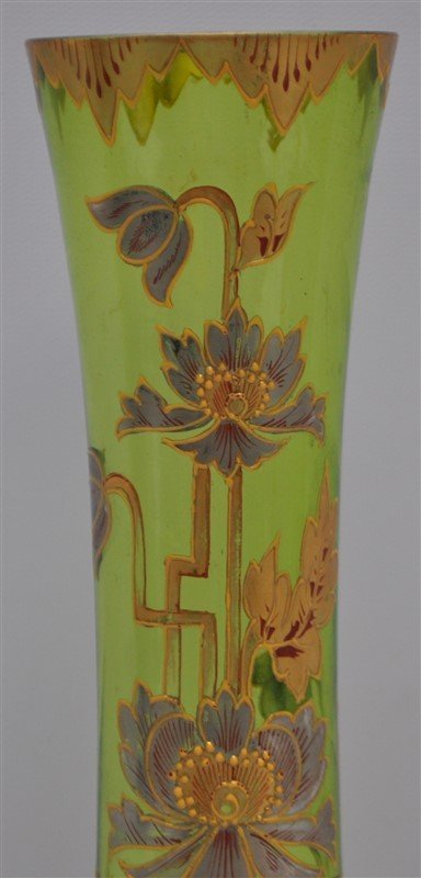 BOHEMIAN TALL BLOWN GILDED VASE ART DECO - 3