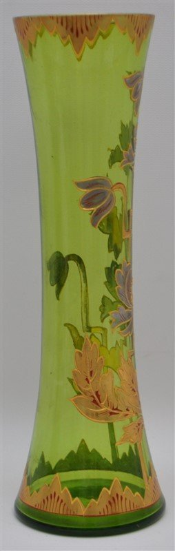 BOHEMIAN TALL BLOWN GILDED VASE ART DECO - 4