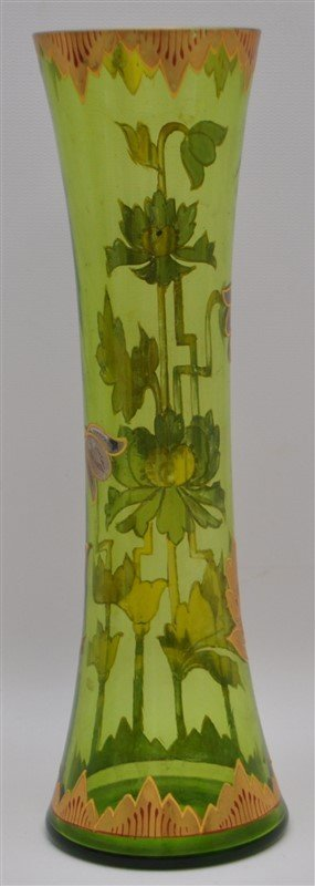 BOHEMIAN TALL BLOWN GILDED VASE ART DECO - 5