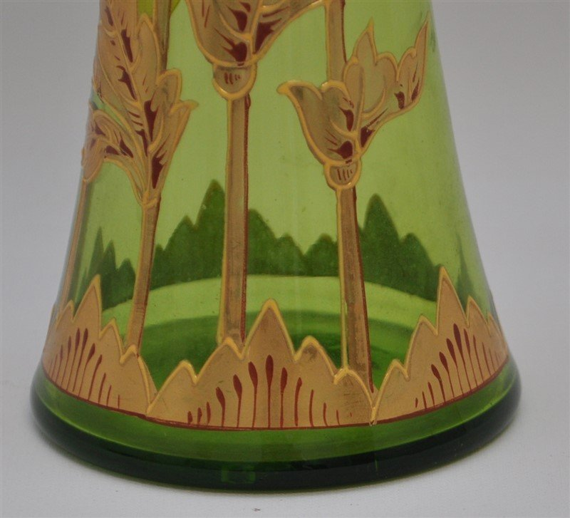 BOHEMIAN TALL BLOWN GILDED VASE ART DECO - 7