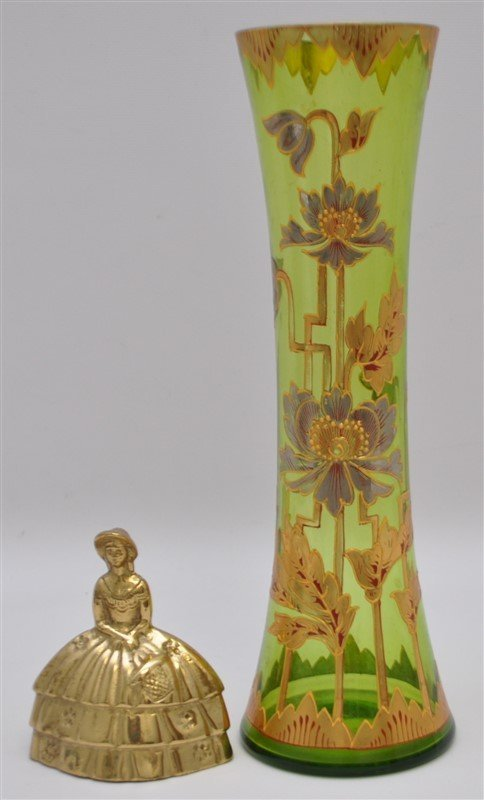 BOHEMIAN TALL BLOWN GILDED VASE ART DECO - 8