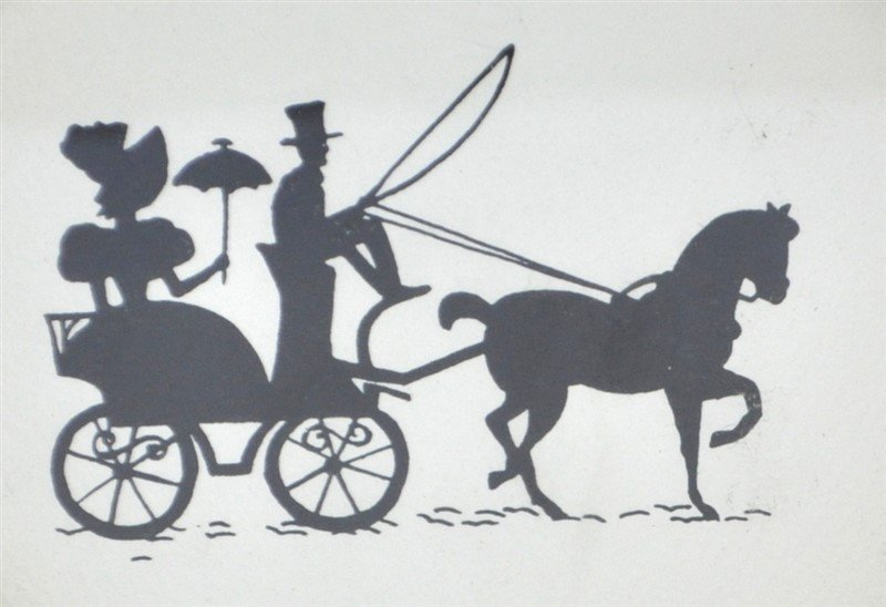 2PC 1950s SILHOUETTES- WOMEN IN CARRIAGES - 2