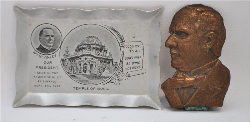 2 PC PRESIDENT MCKINLEY MEMORIAL BRONZE +