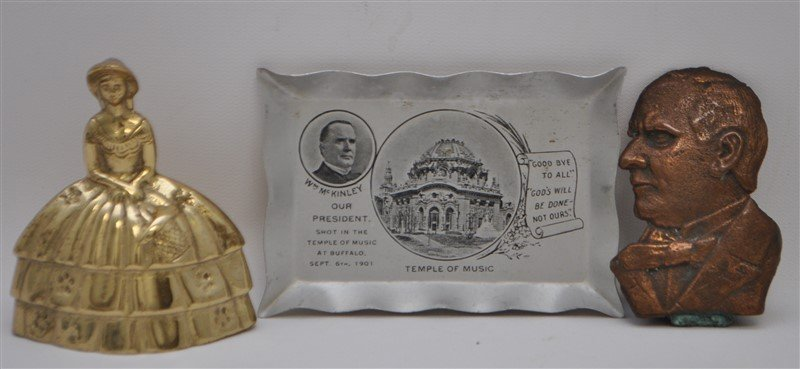 2 PC PRESIDENT MCKINLEY MEMORIAL BRONZE + - 4