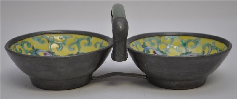 ENAMELED CHINESE JADE HANDLED CEREMONIAL VESSEL - 2