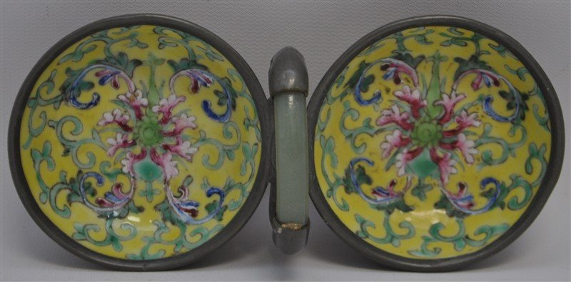 ENAMELED CHINESE JADE HANDLED CEREMONIAL VESSEL - 4