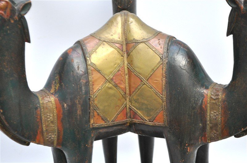 ARABIC FIGURAL CARVED CAMEL TABLE - QATAR - 2