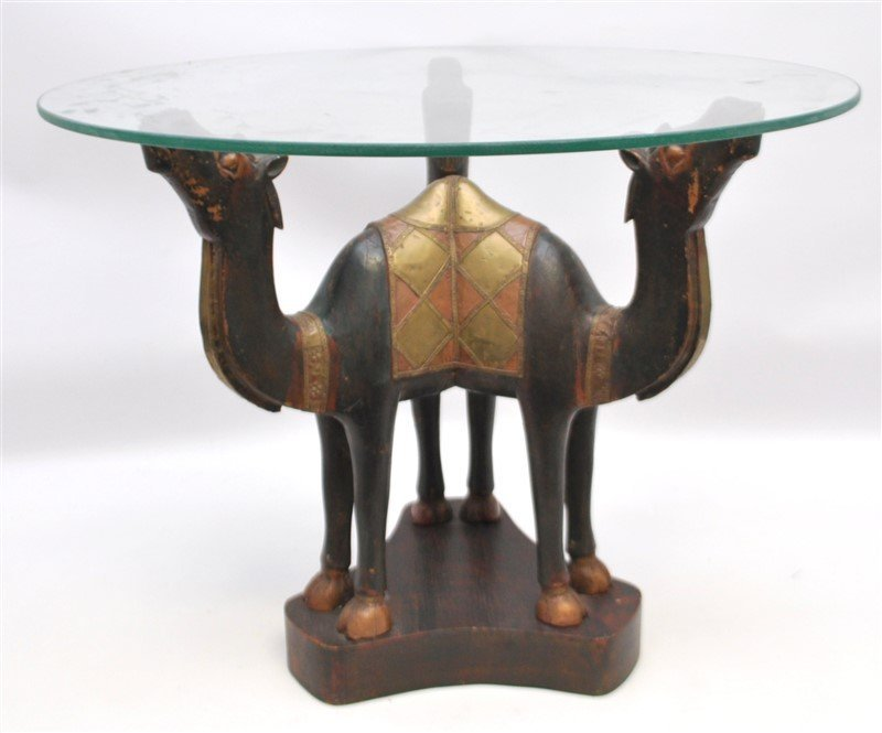 ARABIC FIGURAL CARVED CAMEL TABLE - QATAR - 8