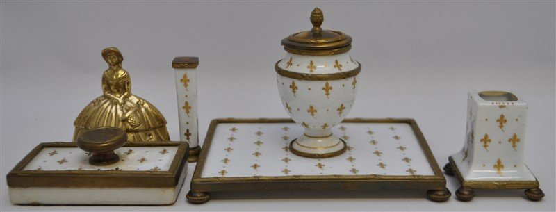 4 PC BRONZE MOUNTED FRENCH PORCELAIN DESK SET - 10
