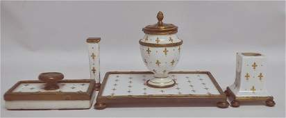 4 PC BRONZE MOUNTED FRENCH PORCELAIN DESK SET