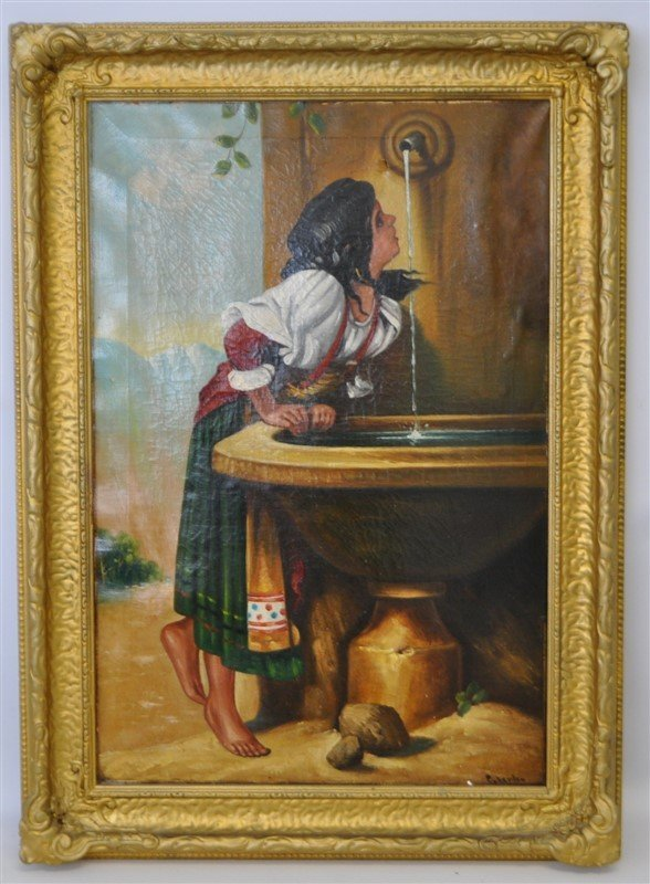 19TH C ROMAN GIRL AT A FOUNTAIN OIL