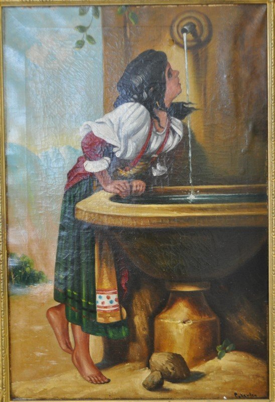 19TH C ROMAN GIRL AT A FOUNTAIN OIL - 2