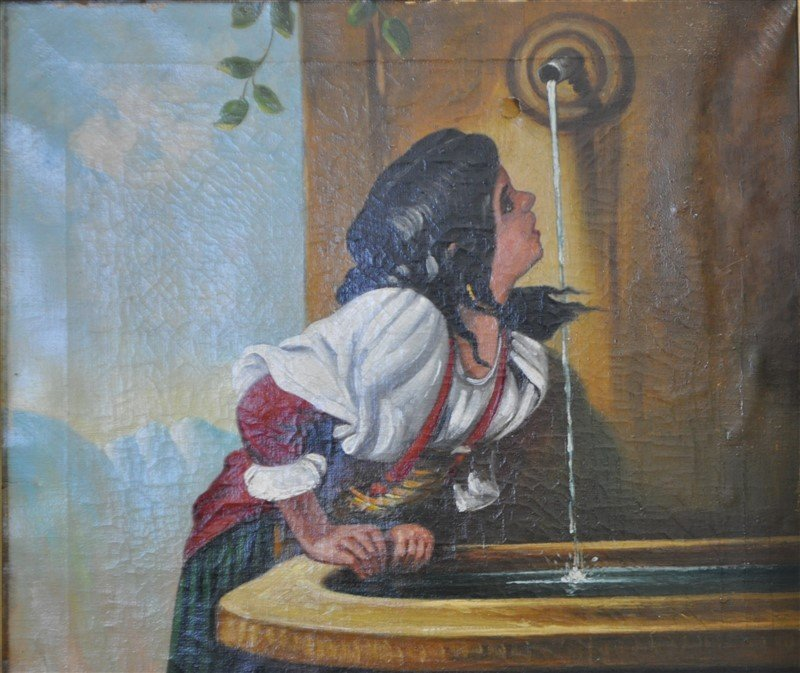 19TH C ROMAN GIRL AT A FOUNTAIN OIL - 3