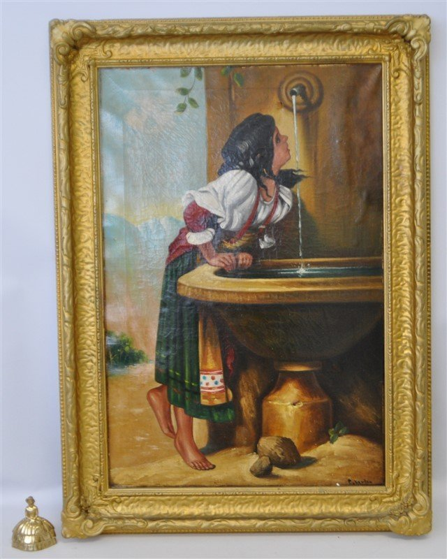19TH C ROMAN GIRL AT A FOUNTAIN OIL - 9