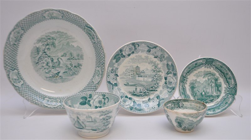 5 pc. 19th c. GREEN TRANSFERWARE WEDGWOOD + ADAMS