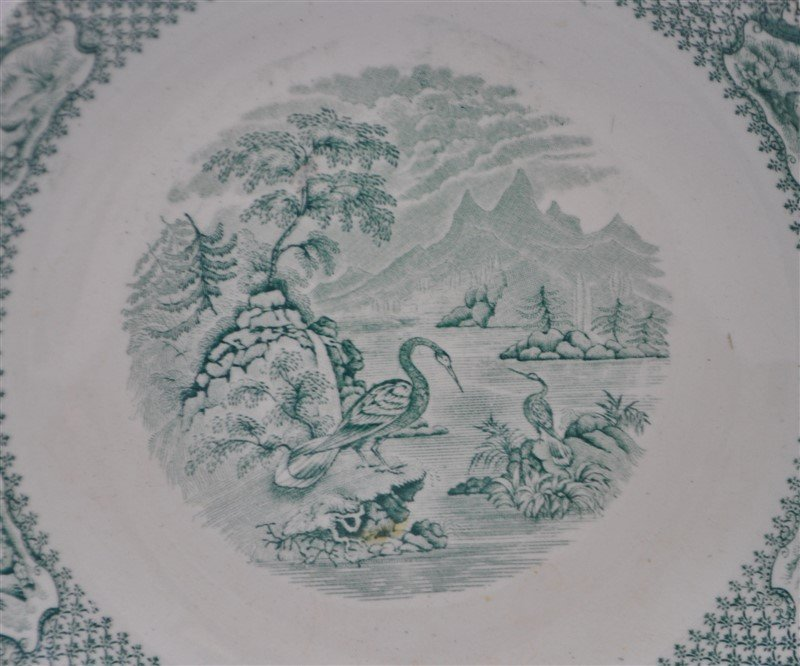 5 pc. 19th c. GREEN TRANSFERWARE WEDGWOOD + ADAMS - 2