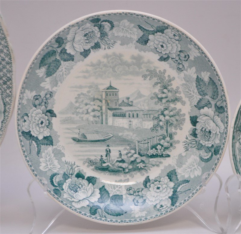 5 pc. 19th c. GREEN TRANSFERWARE WEDGWOOD + ADAMS - 3