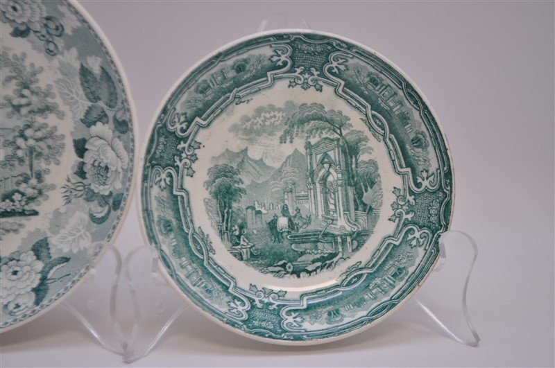 5 pc. 19th c. GREEN TRANSFERWARE WEDGWOOD + ADAMS - 4