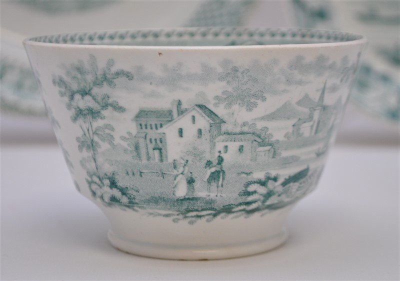 5 pc. 19th c. GREEN TRANSFERWARE WEDGWOOD + ADAMS - 6