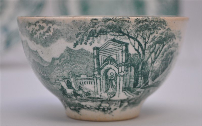 5 pc. 19th c. GREEN TRANSFERWARE WEDGWOOD + ADAMS - 7