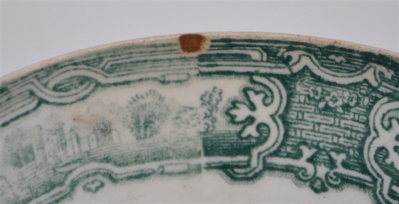 5 pc. 19th c. GREEN TRANSFERWARE WEDGWOOD + ADAMS - 8