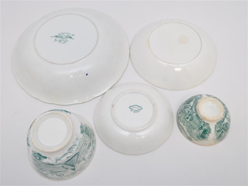5 pc. 19th c. GREEN TRANSFERWARE WEDGWOOD + ADAMS - 9