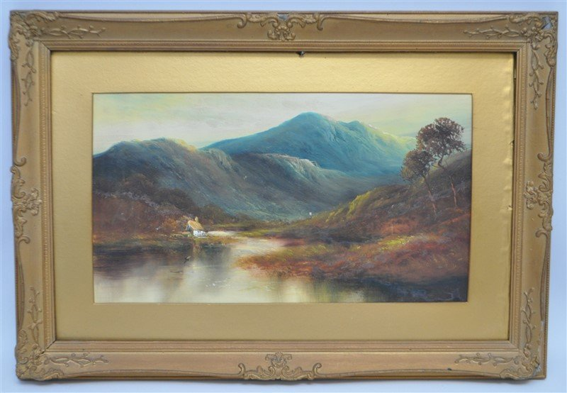 SCOTTISH HIGHLANDS 19th C. OIL ON BOARD