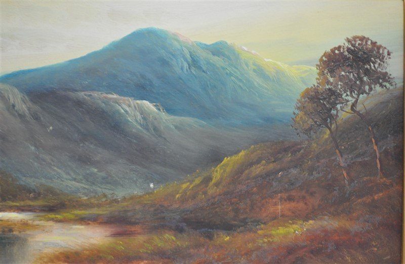 SCOTTISH HIGHLANDS 19th C. OIL ON BOARD - 4