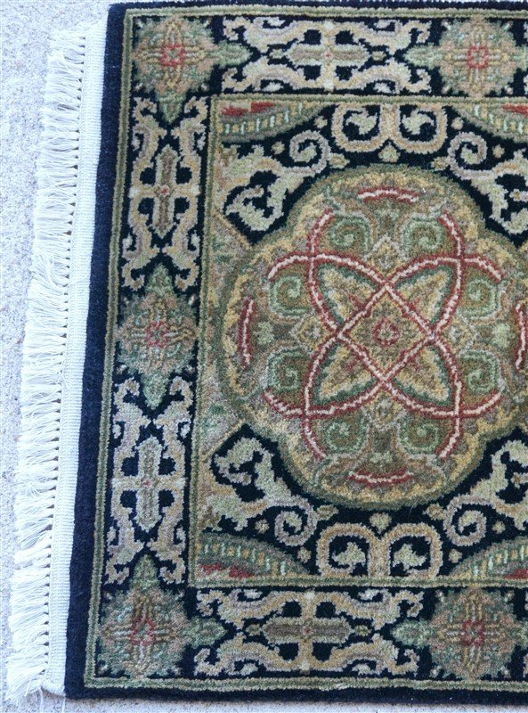 PERSIAN HAND KNOTTED WOOL SMALL RUG - 3