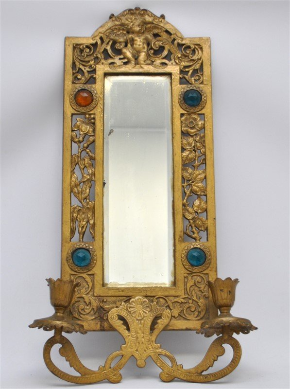 JEWELED BRASS TWO ARM WALL SCONCE MIRROR