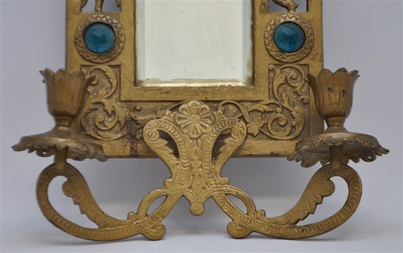 JEWELED BRASS TWO ARM WALL SCONCE MIRROR - 2